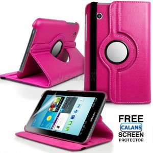360 Degree Rotation Samsung Galaxy Tab 2 7.0 P3100 P3110 Leather Case Cover with Stand Holder with Free CALANS Screen Protector Film Skin -(Hot Pink)
