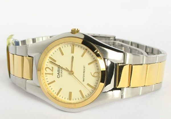 watch for men by casio analog stainless steel silver gold watch for men by casio analog stainless steel silver gold mtp 1253sg 9adf