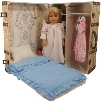 Vintage Map Design Doll Trunk with Bed for American Girl