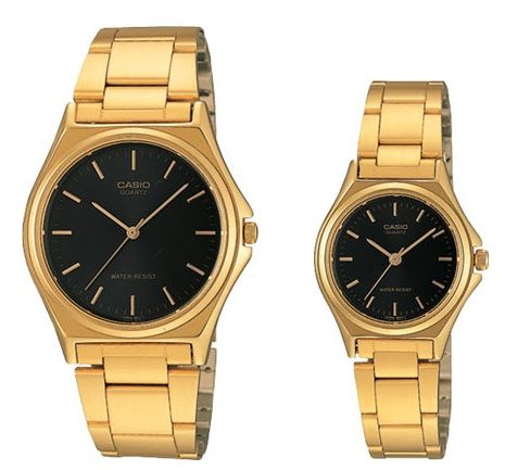 d1761b830c5 Casio His   Her Black Dial Gold Tone Stainless Steel Band Couple Watch   MTP LTP-1130N-1A