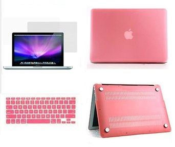 3 in 1 Matte Cyrstal Plastic Hard Case, Silicon Keyboard US Layout and  Screen Guard for MacBook Pro RETINA 13 Inch [Pink]