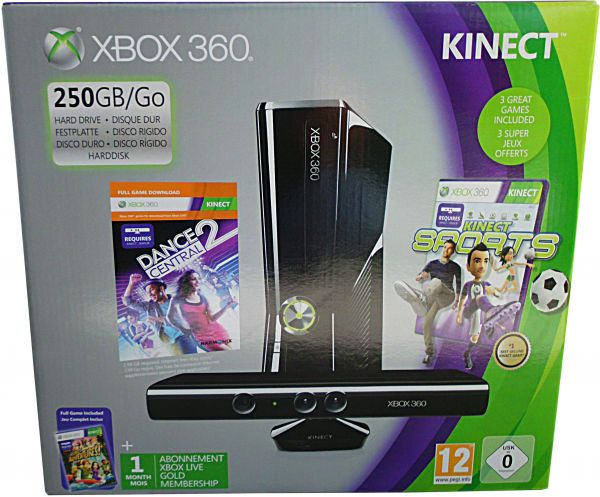 Microsoft Xbox 360 Console 250GB Bundle With Kinect, 3 Games and 1 on