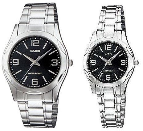4ba5f58e0f32 Casio His   Her Black Dial Stainless Steel Band Couple Watch  MTP LTP-1275D-1A2