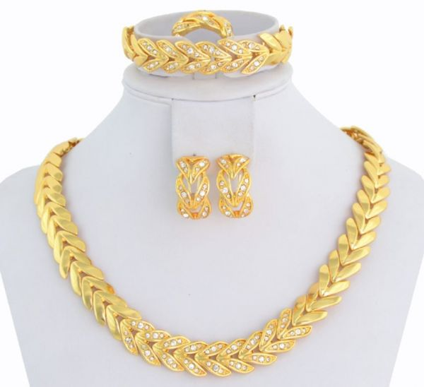 Buy 18K Gold Plated Crystal Choker Necklace Jewelry Set For Women