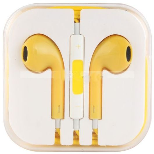 سماعة آيفون 5 مع مايك - yellow EarPods Handsfree for iPhone 5 with mic