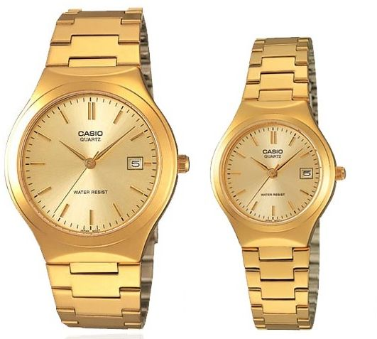 410bfbc2891 Casio His   Her Gold Dial Stainless Steel Band Couple Watch  MTP LTP-1170N-9A
