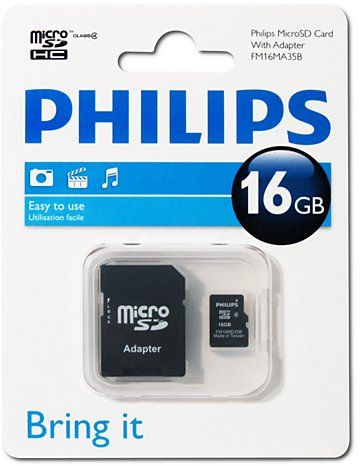 Philips 16GB Micro SD Card Class 4 With Adapter (FM16MA35B)
