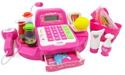 Pink Supermarket Cash Register with Turntable Barcode Scanner Weight Scale  Microphone Calculator Play Money and Food Shopping Playset for kids