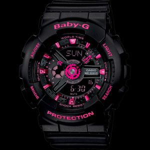 Casio Baby-G BA111-1A Black with Neon Pink Analog Digital Watch