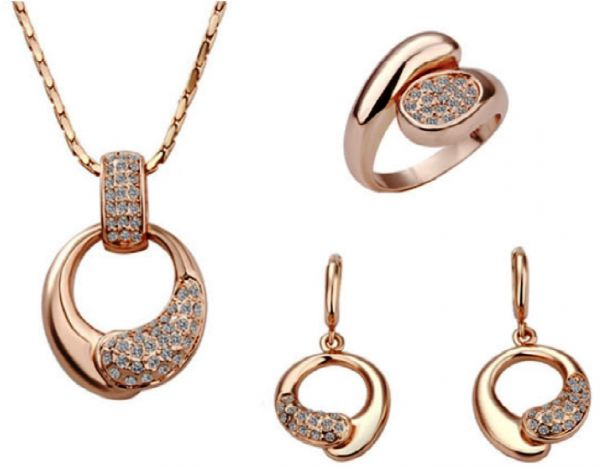 Buy 18k Rose Gold Plated Jewelry Set Necklace Earrings Rings with