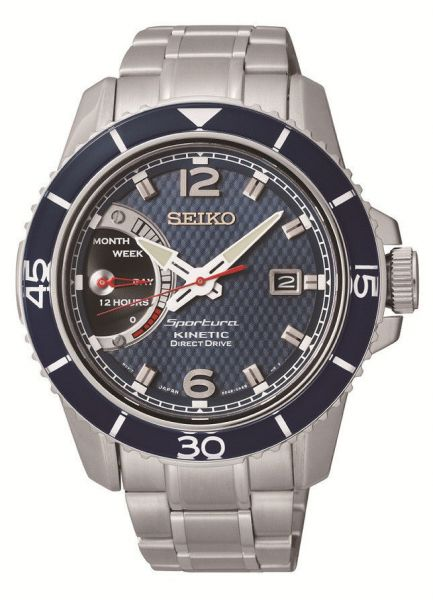 Seiko Sportura Kinetic Direct Drive Men s Blue Dial Stainless Steel ... e1145383b9