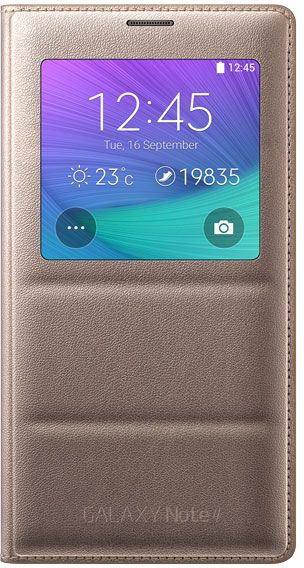 release date 21492 417dc Samsung Galaxy Note 4 S-View Flip Cover - Bronze Gold