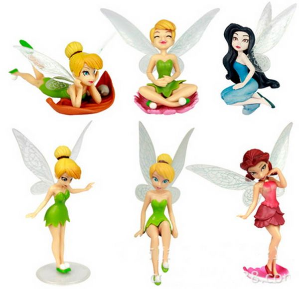 6 Pcs Set TINKERBELL FAIRIES FIGURES CAKE TOPPER TOY Birthday Gift