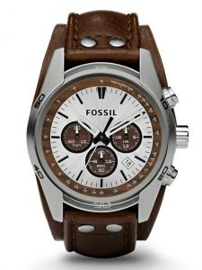de4002739 Fossil Coachman Men's Silver Dial Leather Band Chronograph Watch - CH2565