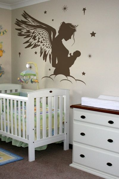 angel mum wall sticker art decal, brown [wa0105] | souq - uae