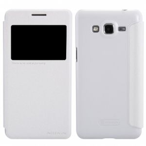 Nillkin Samsung Galaxy Grand Prime SM-G530F Sparkle Leather Case Cover With Screen Protector - White