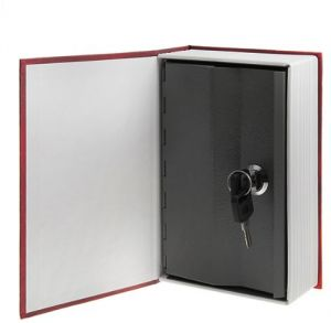 Dictionary Book Safe Box with Key Lock, Large - Red