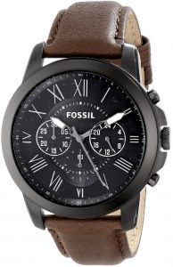 53a29197e Fossil Men's Watch FS4885 Grant Chronograph Stainless Steel Dial Brown  Leather Band