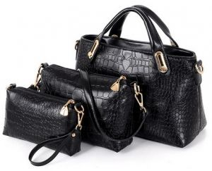 3ac5fc4b97 Ladies fashion high-end PU bag three piece suit, super capacity out  necessary.(XM/Black)
