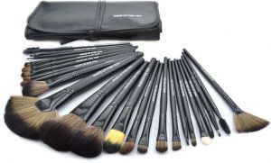 1426d49fd Make Up For You 24 pieces Brush Professional Makeup Eyebrow Shadow Cosmetic  Brush Set Kit Case With Pouch - Black