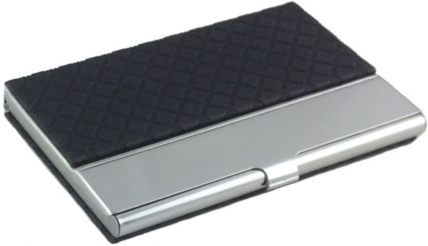 Buy leather stainless steel business cards holder elegant organizer leather stainless steel business cards holder elegant organizer blacksilver reheart Images