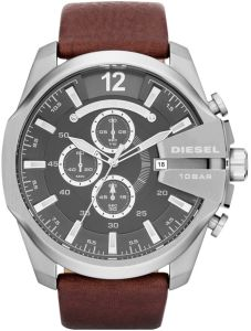 228e15d215ede Diesel Master Chief Men s Gray Dial Leather Band Chronograph Watch - DZ4290