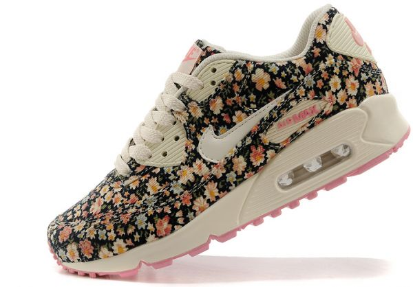 Nike Air Max 90 Floral Print Womens Jasmine Flower Running Shoes EUR ... 56538fe564
