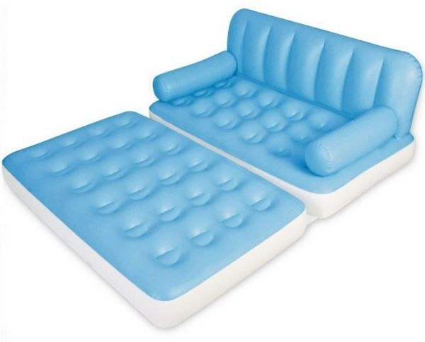 Bestway 75039 Double Inflatable Sofa For 2 Persons 5 In 1 Trips And Camping Sky Blue