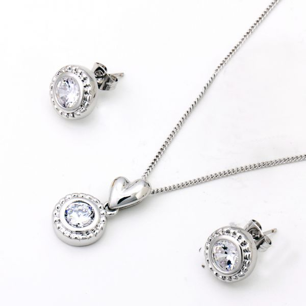 Buy 18k White gold plated circular shape jewelry set Jewelry sets