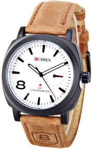 50b78fcec Curren 8139 Chronometer Quartz Fashion Watch with Leather Strap – White Dial