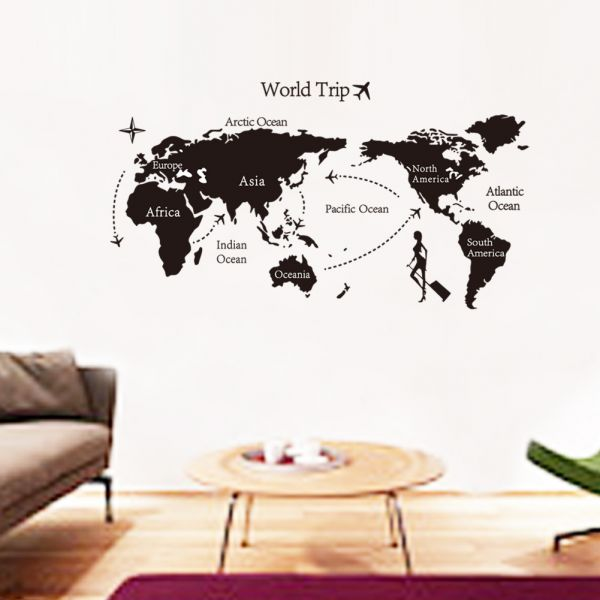 removable wall sticker – world map travel | souq - uae