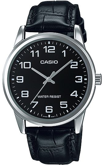 Casio Mtp V001l 1b Analog Quartz Leather Dress Watch For Men Black