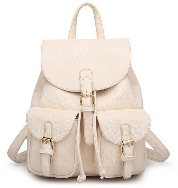 Stylish Litchi Leather Women S Backpack Lady Shoulder Bag For Qm61 Off White