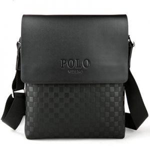 Men leather videng polo brand casual travel messenger bag small cross body  business handbag Black 6871631822