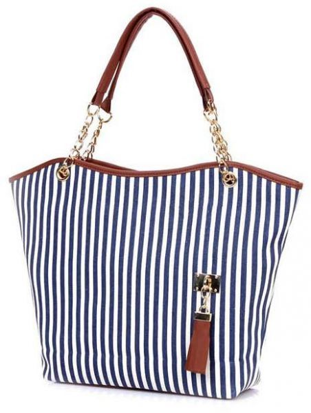 Fashion Women Ladies Handbag Shopping Stripes Tassel Tote Shoulder ... c99073998dc88