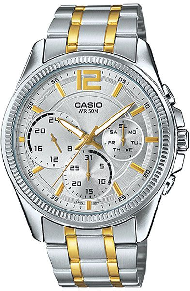 watch for men by casio analog chronograph stainless steel 233 57 sar