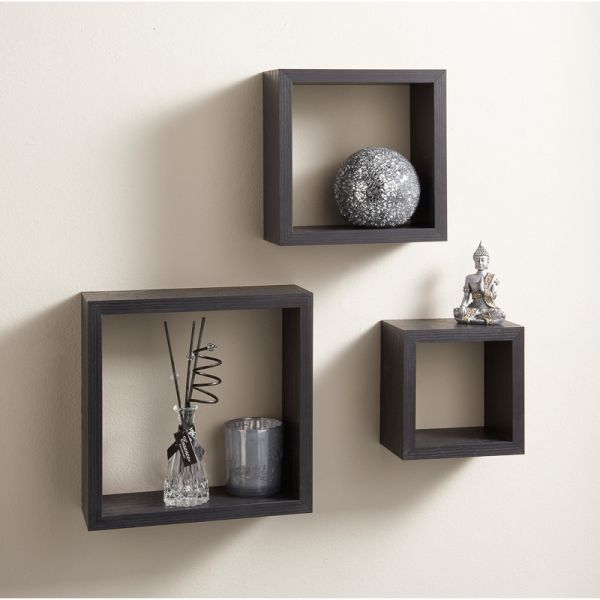Astounding 3 Cubic Wall Shelves Brown Home Interior And Landscaping Ologienasavecom