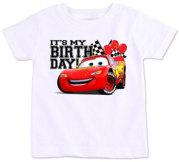 Disney Pixar Cars Lightning Mcqueen With Its My Birthday T Shirt 4 Years