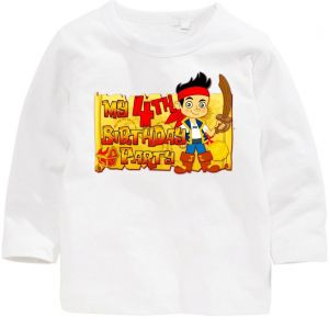 Jake And The Neverland Pirates My 4Th Birthday Party Long Sleeved T Shirt