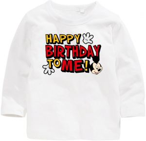 Mickey Mouse With Happy Birthday To Me Long Sleeved T Shirt 5 Years