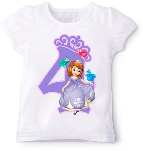 Sofia The First With Fairies And Number 4 Birthday T Shirt