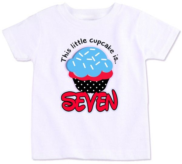 This Little Cupcake Turns Seven Boys Birthday T Shirt