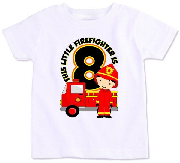 This Little Firefighter Is 8 Boys Birthday T Shirt