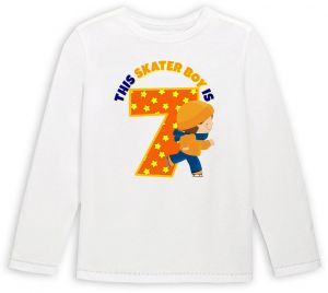 This Skater Boy Is 7 Birthday Long Sleeved T Shirt