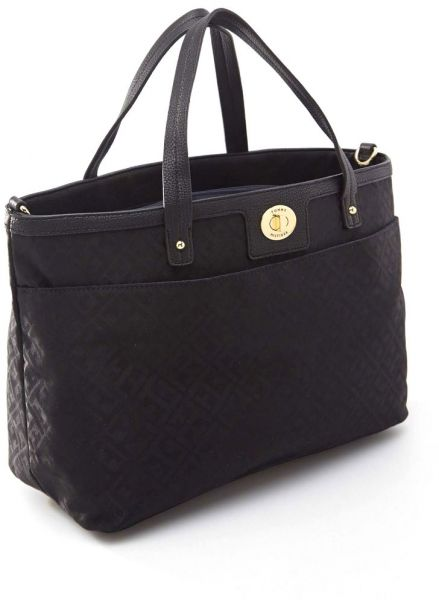 tommy hilfiger cv shopper jacquard black bag  w66924200