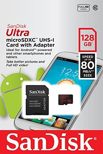 Sandisk Ultra Micro SD 128GB, VERSION UPTO 80MB/Sec Read Speed