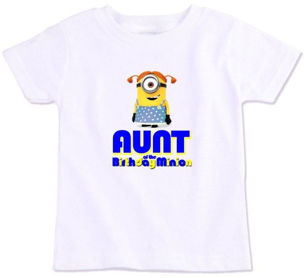 Aunt Of The Birthday Minion Family Matching T Shirt Large