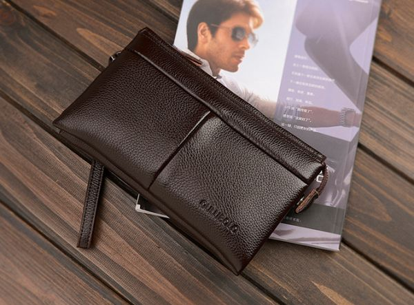 Fashion Trend Casual Genuine Leather Long paragraph Clutch Wallet hand bag  For Men Brown QB42B  ab41d540370bc