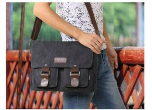 Korean version Casual High-quality men Canvas Shoulder bag Messenger bag  postman bag BY-46B Black b7bf938b45988