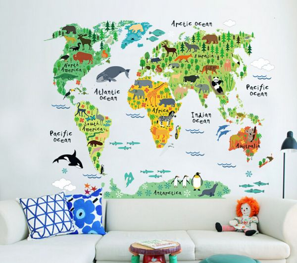 Souq removable wall sticker cartoon world map uae removable wall sticker cartoon world map gumiabroncs Image collections